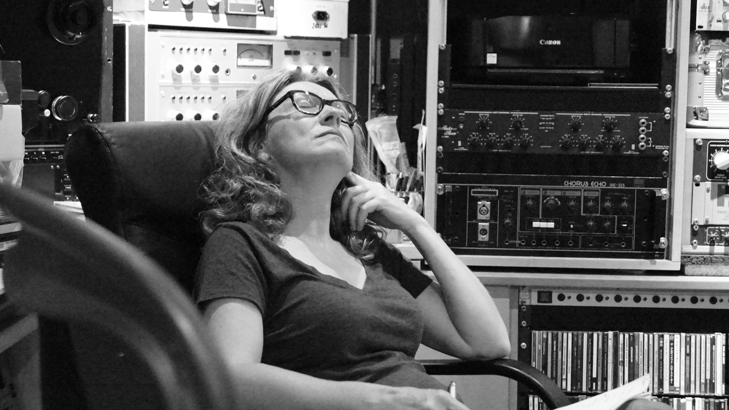 Lisa Mills listening back to a take